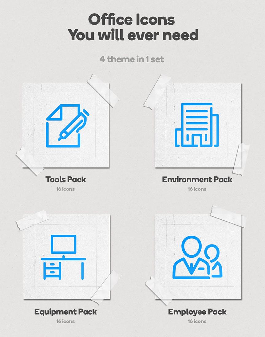 Office Animated Icons Set - Wordpress Lottie JSON SVG - 2